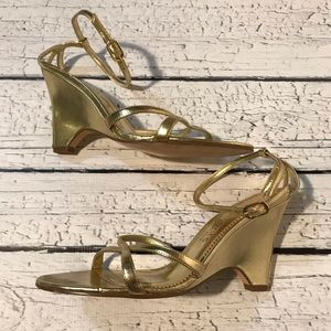 Elements by Nina Gold Strappy Wedges Size 7